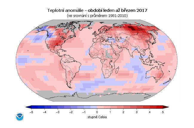 Teplotní anomálie - leden až únor 2017