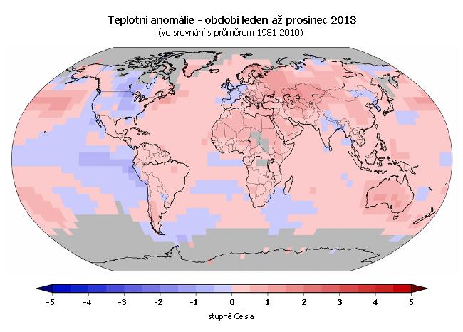 Teplotní anomálie v roce 2013