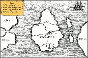 Podle tradičních představ se Atlantida nacházela uprostřed Atlantského oceánu (Athanasius Kircher, cca 1669)