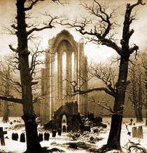 Caspar David Friedrich - Klášterní hřbitov v zimě (1818)