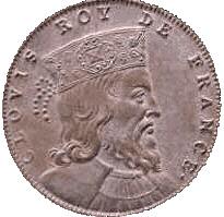 Dobová mince s portrétem franckého krále Chlodvíka I. (465-511)
