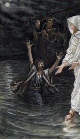 Petr a Ježíš kráčejí po vodě - z tvorby francouzského malíře Jamese Tissota (1836-1902)