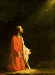 Ježíš se modlí v Getsemanské zahradě