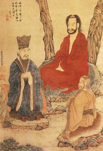 Konfucius, Lao-tse a buddhistický arhat, výřez z díla čínského malíře Ding Yun Penga (1547-1628).