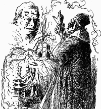 Rabi Jehuda Löw tvoří Golema, kresba Mikoláše Alše
