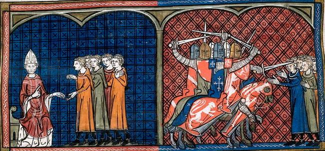 Papež Inocenc III. exkomunikuje katary z církve (vlevo). Vyvraždění katarů křížáckou výpravou (vpravo). Kroniky ze Saint-Denis (14. století).