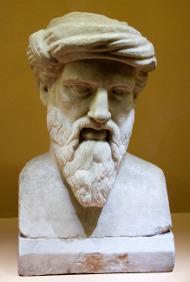 Pythagoras, busta v Římě z 2.-1. stol. před Kristem, kopie podle řecké předlohy