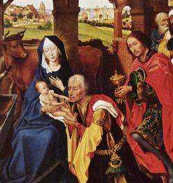 Klanění Tří králů, detail z obrazu vlámského malíře Rogiera van der Weyden (1400-1464).