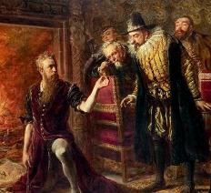 Alchymista Sendivogius demonstruje úspěšnou transmutaci kovu ve zlato za přítomnosti krále Zikmunda III., namaloval Jan Matejko v roce 1867