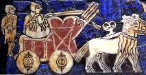 Vůz se čtyřmi koly, detail z královské stély v Uru, Sumer, okolo 2500 př.n.l.