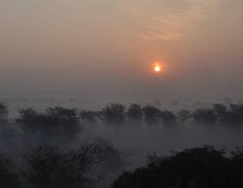 Východ slunce v zimě, pohoří Aravalli, Indie, 29.1.2011 / autor: Sabyasachi Dasgupta, licence: CC-BY-SA-3.0
