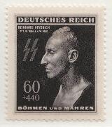 Protektorátní poštovní známka s posmrtnou maskou Reinharda Heydricha