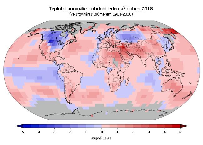 Teplotní anomálie - leden až duben 2017 (oproti průměru 1981-2010)