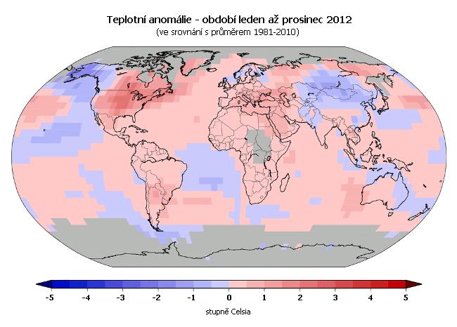 Teplotní anomálie - leden až prosinec 2012 (oproti průměru 1981-2010)