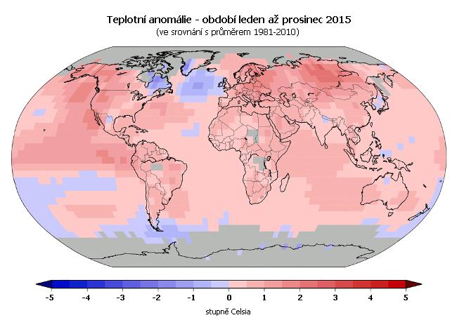 Teplotní anomálie - leden až prosinec 2015 (oproti průměru 1981-2010)