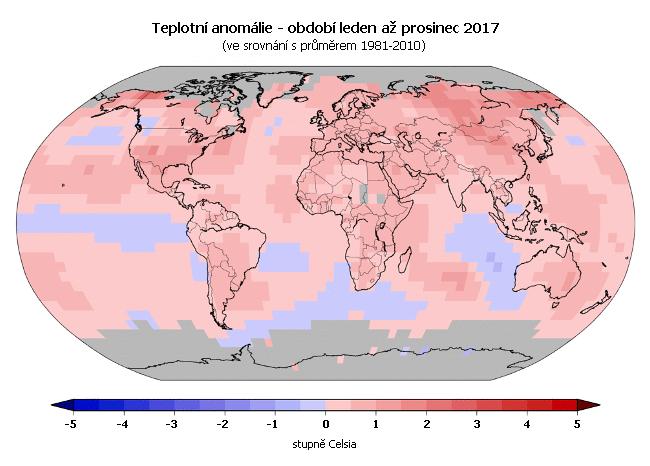 Teplotní anomálie - leden až prosinec 2017 (oproti průměru 1981-2010)