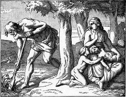 Adam a Eva po vyhnání  ráje, ilustrace z roku 1897.