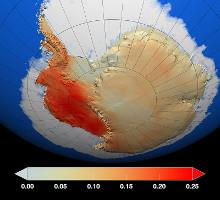 Trend průměrné roční teploty vzduchu v Antarktidě v letech 1957-2006