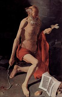 Pokání svatého Jeronýma, obraz francouzského malíře Georgea de La Tour (17. stol.)