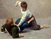 Klukovská rvačka, jak ji ztvárnil italský malíř Giulio del Torre (1856–1932)