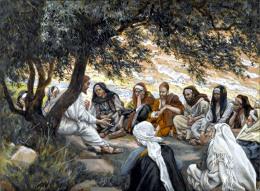 James Tissot (1836-1902) -  Ježíš hovoří s učedníky