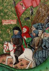 Slepý Jan Žižka v čele husitských vojsk. Jenský kodex, 1490-1510