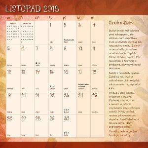 Kalendář Miluj svůj život - listopad 2018 - Strach a důvěra