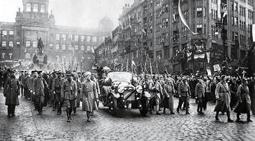 Legionáři s Masarykem v Praze, 21.12.1918