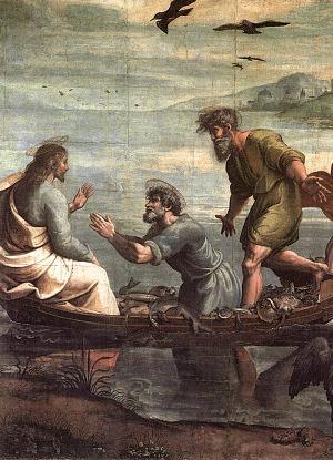 Raffael Santi - Zázračný výlov ryb (1515)