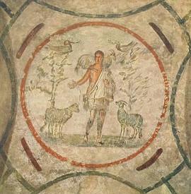 Dobrý pastýř, malba v rímských katakombách (2. pol. 3. stol.)