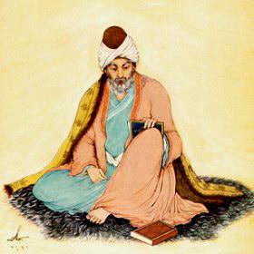 Džaláleddin Rúmi, umělecké ztvárnění podle představy iránského malíře Hosseina Behzada (1894–1968)