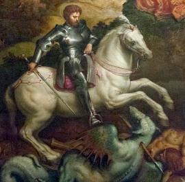 Paris Bordone (1500-1571) - Svatý Jiří zápasí s drakem