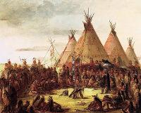 Indiáni a týpí, George Catlin (1796-1872)