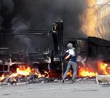 Protestující v Kyjevě, 18.2.2014.