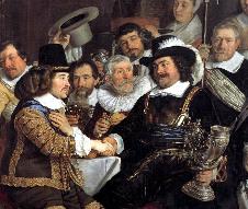 Hostina po uzavření Münsterské dohody v roce 1648. Vytvořil holandský malíř Bartholomeus van der Helst (1613-1670)